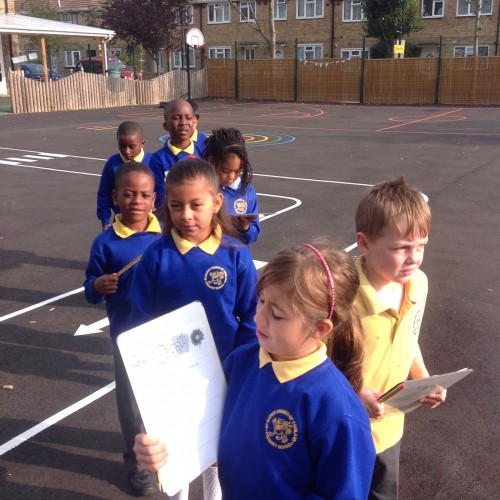 We went out into the playground to hunt for vocabulary to add to our poems about senses.